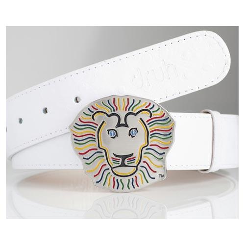 Druh White Leather Pattern Belts w/ Lion Buckle