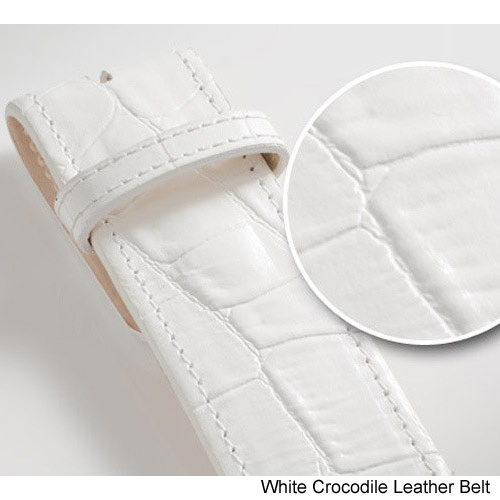 Druh White Crocodile Leather Belts w/Buckle