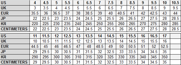 FootJoy SIZE CONVERSION CHART