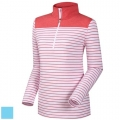 FootJoy Ladies Half-Zip Stripe Solid Yoke