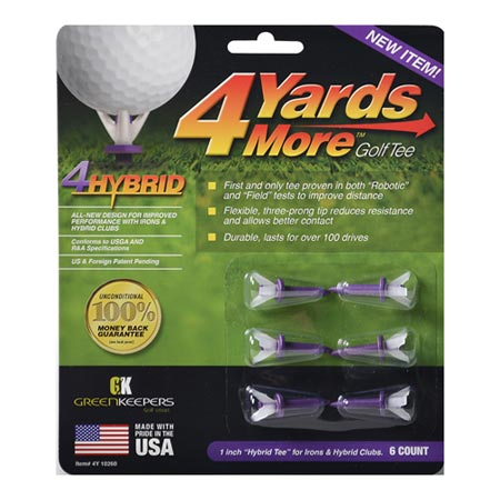 Greenskeeper 4 Yard More Golf Hybrid Tees (Pack of 6)