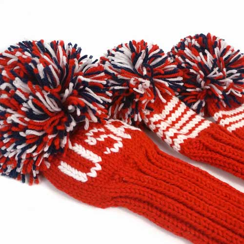 Jan Craig Red White Navy Stripe Headcover Sets w/USA Logo