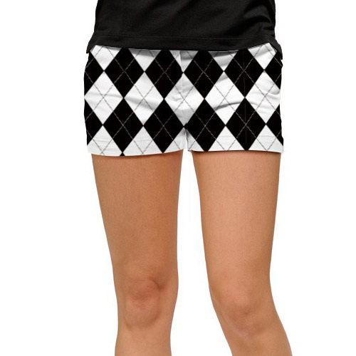 ラウドマウスゴルフ Ladies Black & White Mini Shorts (#SS)