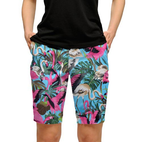 ラウドマウスゴルフ Ladies Pink Flamingos Bermuda Shorts