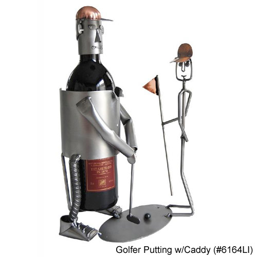 Metal Art Golfer Putting w/Caddy Wine Caddies