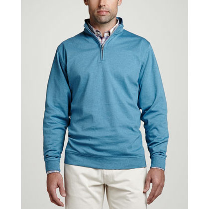 Peter Millar Heather Interlock Quarter Zip Sweaters w/ Logo