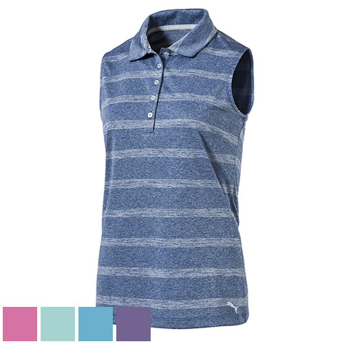プーマ ゴルフ Ladies Pounce Stripe Sleeveless Golf Polo Cresting