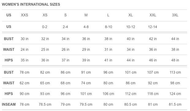 Puma Ladies Apparel Size Chart