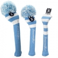 RocketTour Light Blue Rugby Stripe Pom Pom Headcover