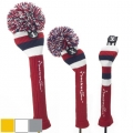 RocketTour Red Base Rugby Stripe Pom Pom Headcover