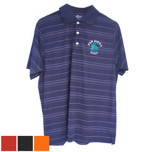 San Diego Gift Three Color Textured Stripe Polo Shirts (#2953)