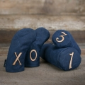 Seamus Golf Navy Waxed Canvas Headcover Set w/Leather Label