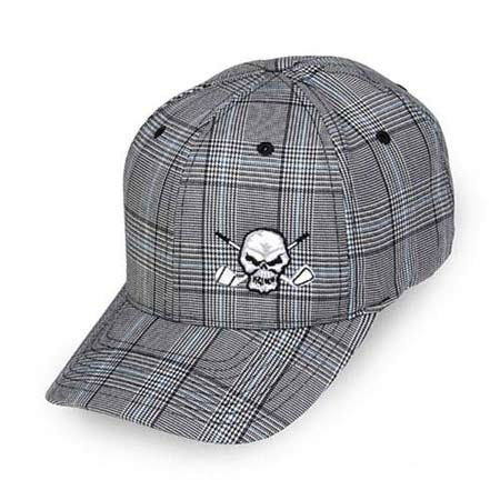 Tattoo Golf Plaid Small Skull Hat