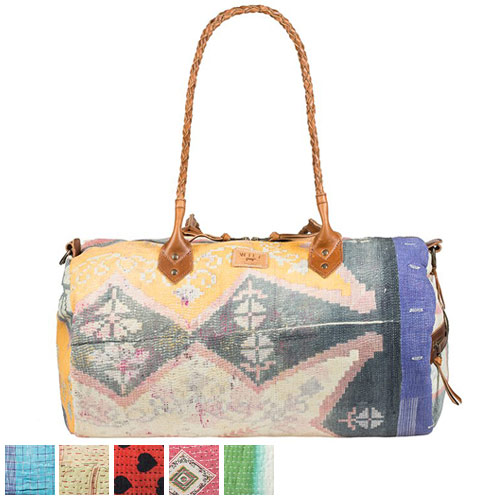 Will Leather Goods Kantha Quilted Duffle Bag