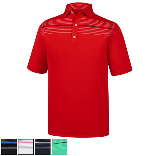 FootJoy Athletic Fit Lisle Chest Pinstripe Self Collar