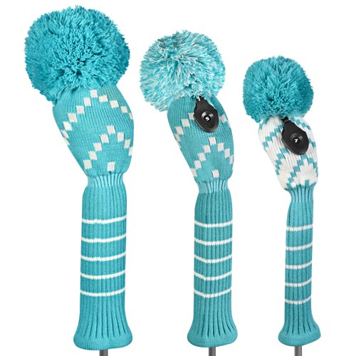 Just 4 Golf Ladies Blue and White Chevron Headcovers