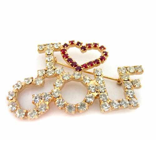 Navika Ladies Swarovski Crystal I LOVE GOLF Pins